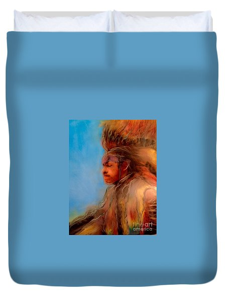 Duvet Cover featuring the painting Wakantanka Maka Kin Kaye by FeatherStone Studio Julie A Miller
