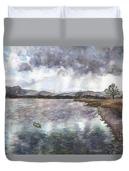 Duvet Cover featuring the painting Walden Ponds On An April Evening by Anne Gifford