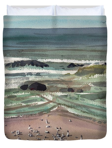 Duvet Cover featuring the painting Waldport Surf by Donald Maier