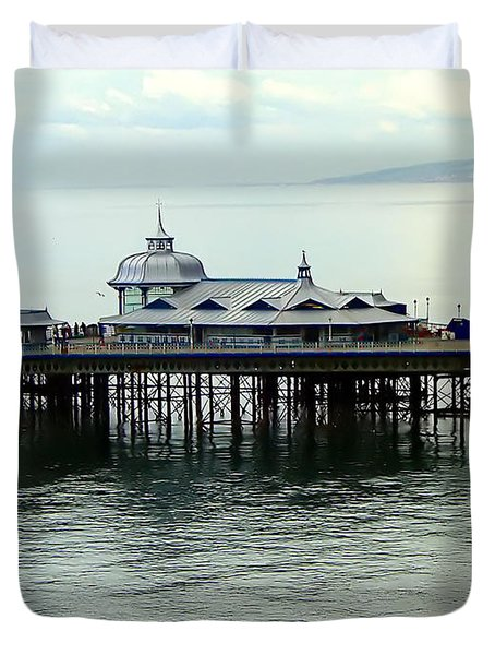 Duvet Cover featuring the photograph Wales Boardwalk by Joan  Minchak
