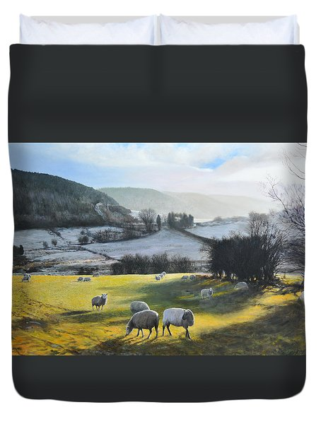 Duvet Cover featuring the painting Wales. by Harry Robertson