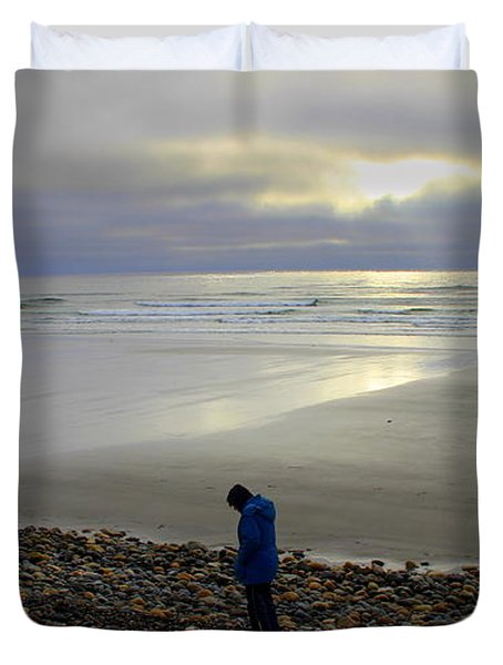 Walking On The  Beach At Dawn Duvet Cover