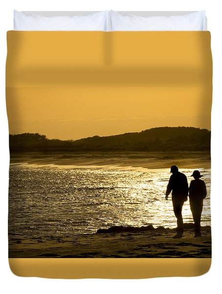 Walk Along The Beach Duvet Cover