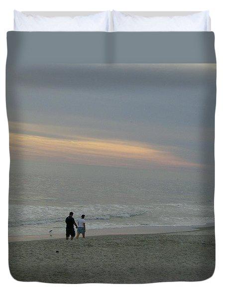 Walk Along The Beach Duvet Cover