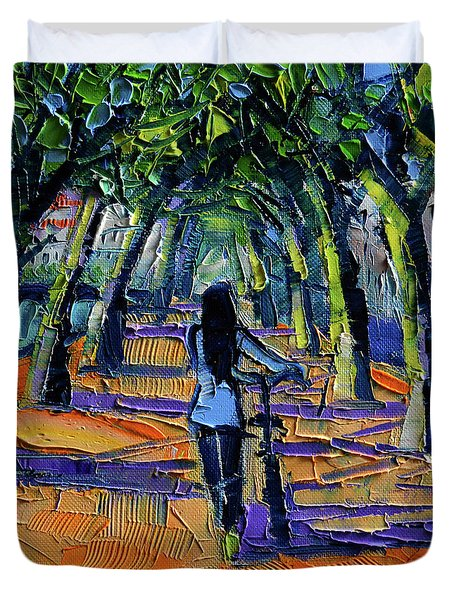 Walk Beneath The Plane Trees Modern Impressionist Palette Knife Painting Duvet Cover