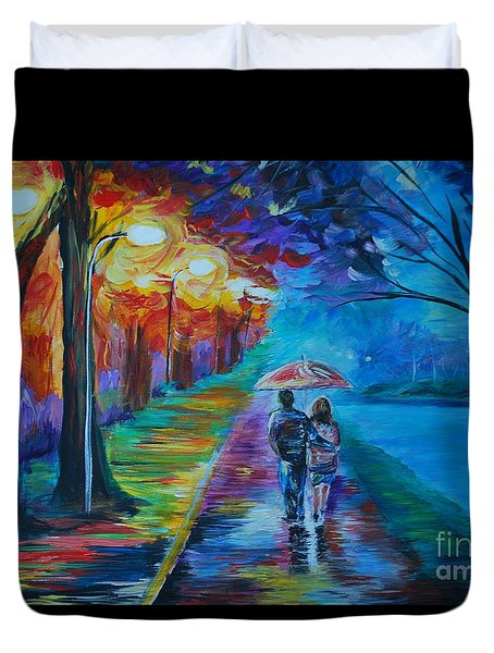 Duvet Cover featuring the painting Walk By The Lake  by Leslie Allen