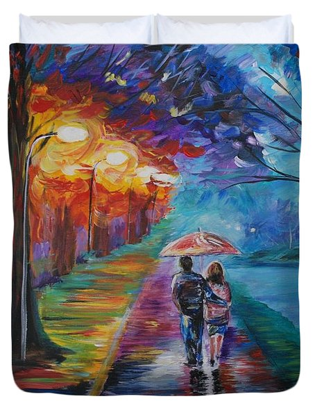 Duvet Cover featuring the painting Walk By The Lake Series 1 by Leslie Allen