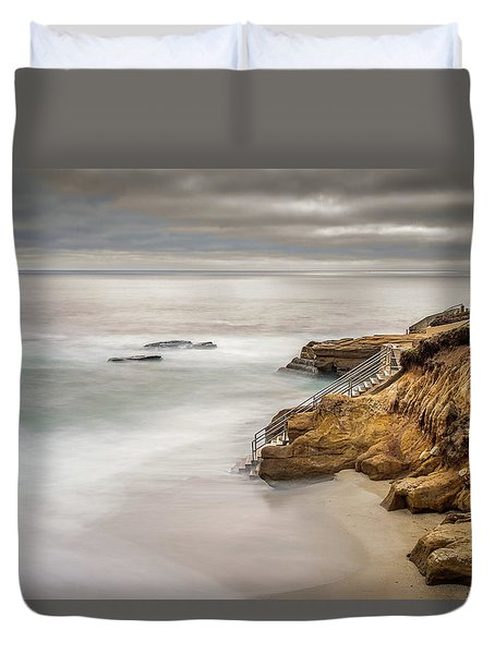 Walk Down To The Mist Duvet Cover by Peter Tellone