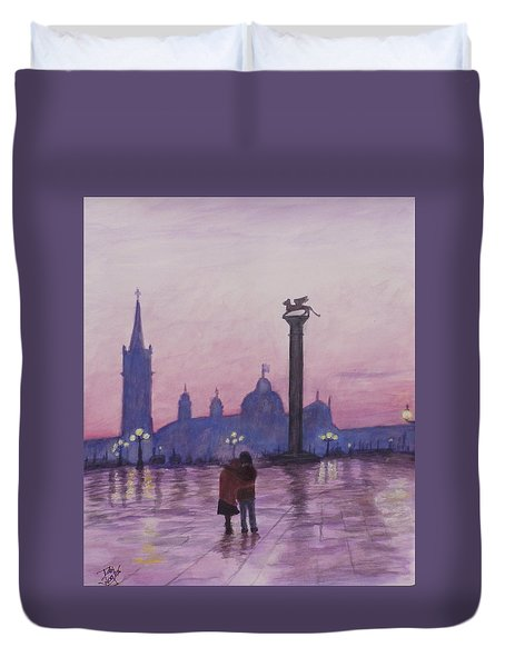 Walk In Italy In The Rain Duvet Cover by Dan Wagner