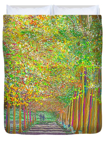 Duvet Cover featuring the painting Walk In Park Cathedral by Hidden Mountain