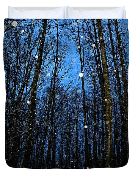 Walk In The Snowy Woods Duvet Cover