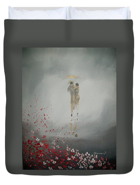 Duvet Cover featuring the painting Walk In The Storm by Raymond Doward