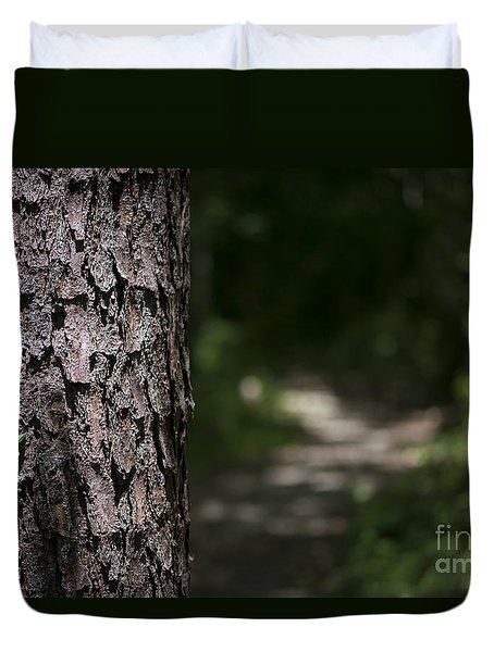 Duvet Cover featuring the photograph Walk In The Woods by Andrea Silies