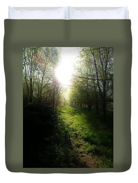Walk In The Woods Duvet Cover by Michele Carter