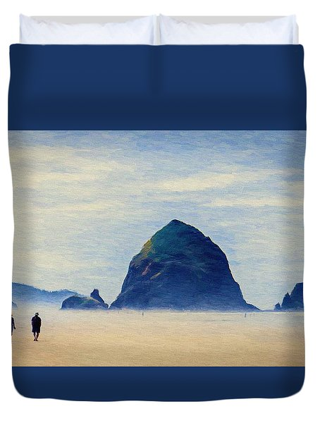Duvet Cover featuring the painting Walk On The Beach by Jeff Kolker