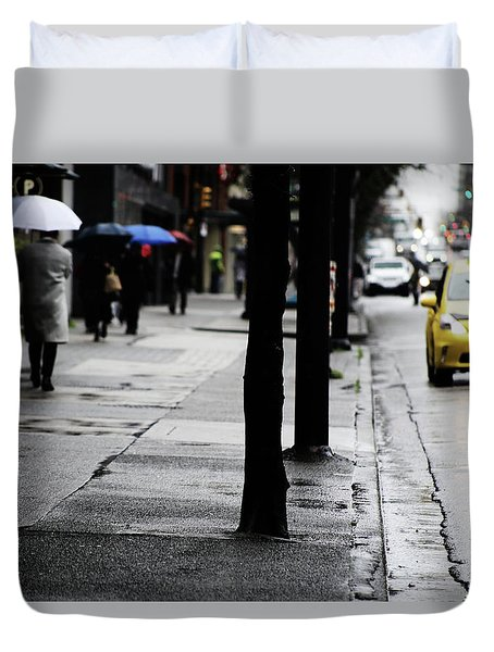 Walk Or Cab Duvet Cover by Empty Wall