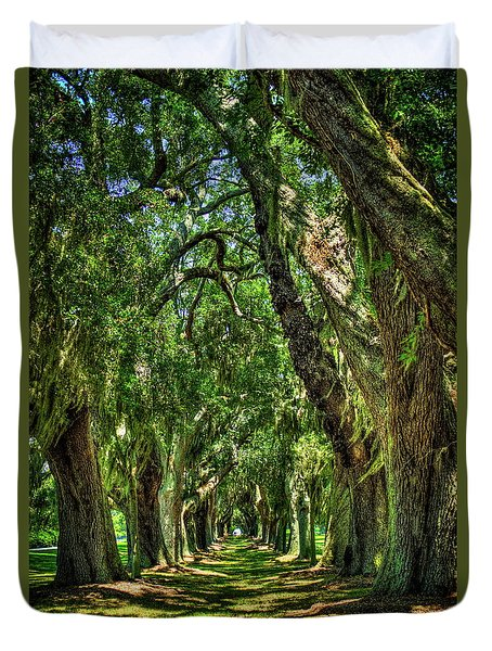 Duvet Cover featuring the photograph Walk With Me Avenue Of Oaks St Simons Island Art by Reid Callaway
