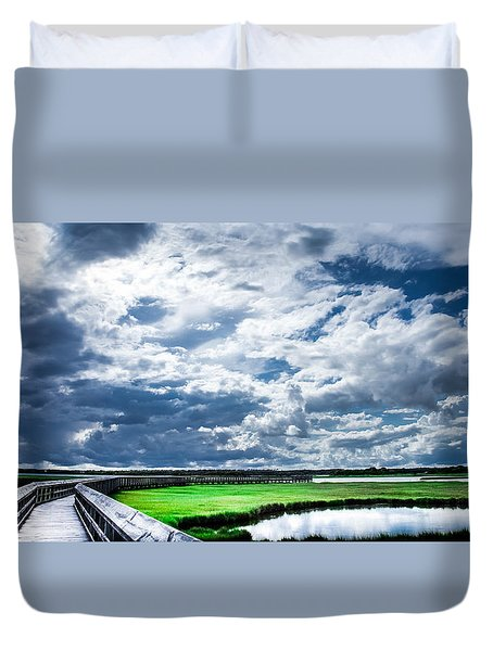 Walk With Me In The Sky Duvet Cover