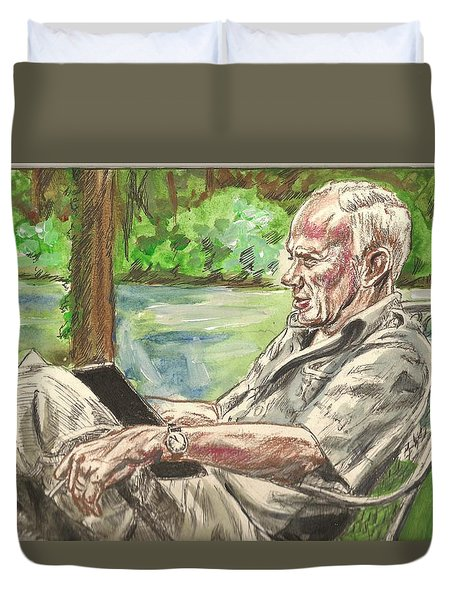 Walker Percy At The Lake Duvet Cover
