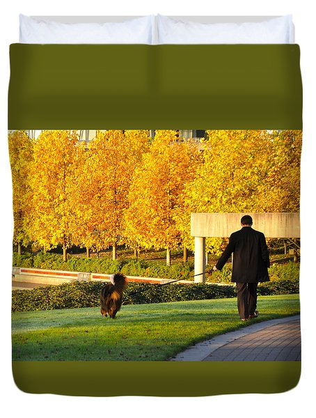 Walkies In Autumn Duvet Cover