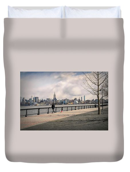 Walking Along Hoboken's Hudson River Waterfront Walkway Duvet Cover