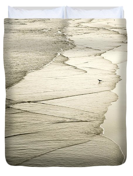 Walking Along The Beach At Sunrise Duvet Cover by Marilyn Hunt