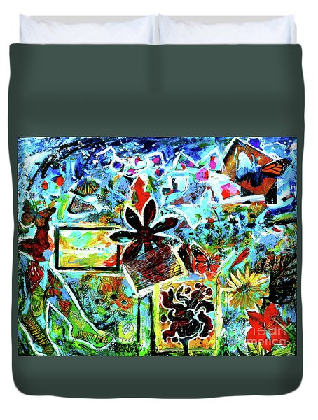 Duvet Cover featuring the mixed media Walking Amongst The Monarchs by Genevieve Esson