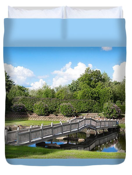 Duvet Cover featuring the photograph Walking Bridge Pond Reflection by Betty Denise