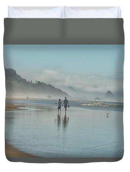 Walking Cannon Beach Duvet Cover