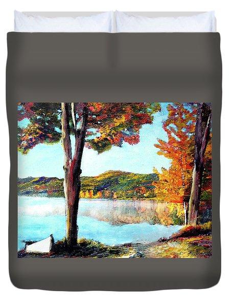 Walking Down Lake Champlain Duvet Cover