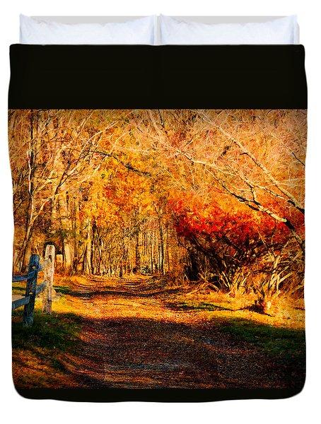 Walking Down The Autumn Path Duvet Cover