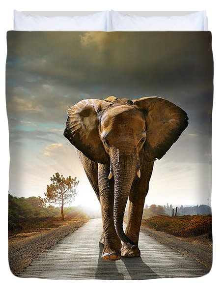 Walking Elephant Duvet Cover