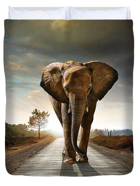 Walking Elephant Duvet Cover
