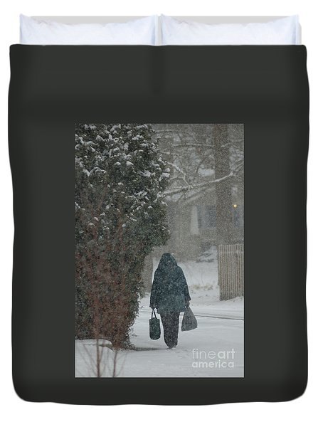 Walking Home In The Snow Duvet Cover