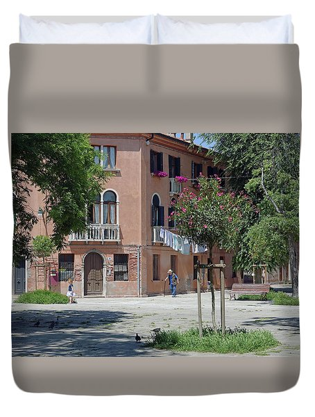 Walking In A Quiet Neighborhood On Murano Duvet Cover