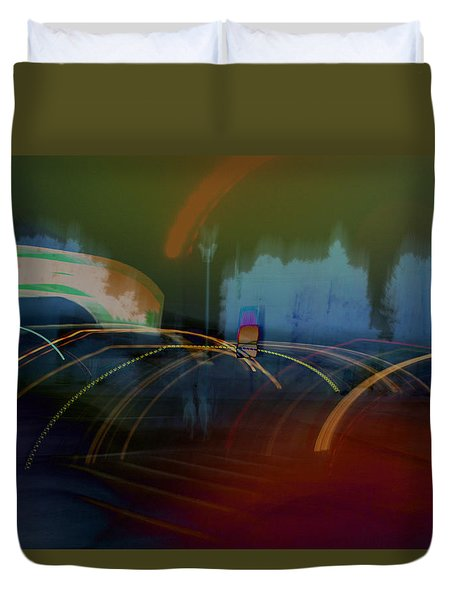 Walking In Carnival Lights Duvet Cover