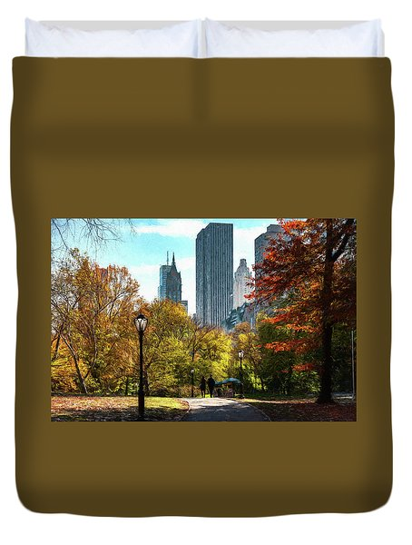 Walking In Central Park Duvet Cover