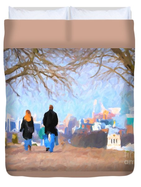Duvet Cover featuring the painting Walking In Greenwich Park by Chris Armytage