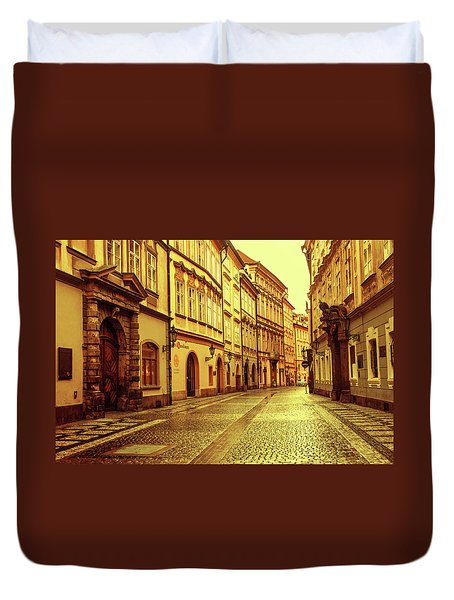 Duvet Cover featuring the photograph Walking In Prague. Series Golden Prague by Jenny Rainbow