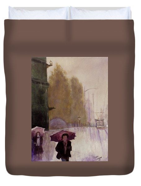 Walking In The Rain Duvet Cover by Dan Wagner