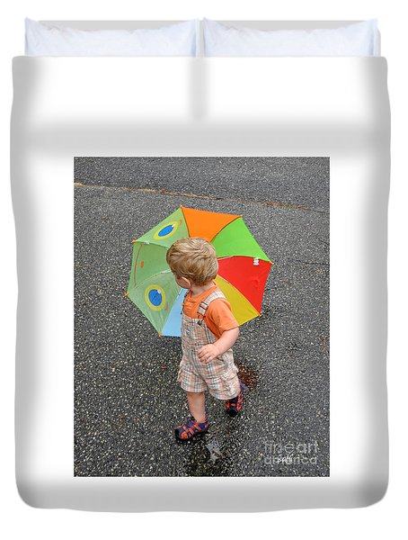 Walking In The Rain Duvet Cover