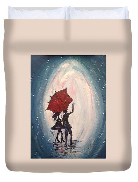 Walking In The Rain Duvet Cover by Roxy Rich