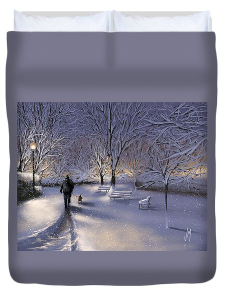 Duvet Cover featuring the painting Walking In The Snow by Veronica Minozzi