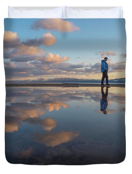 Walking In The Sunset Duvet Cover