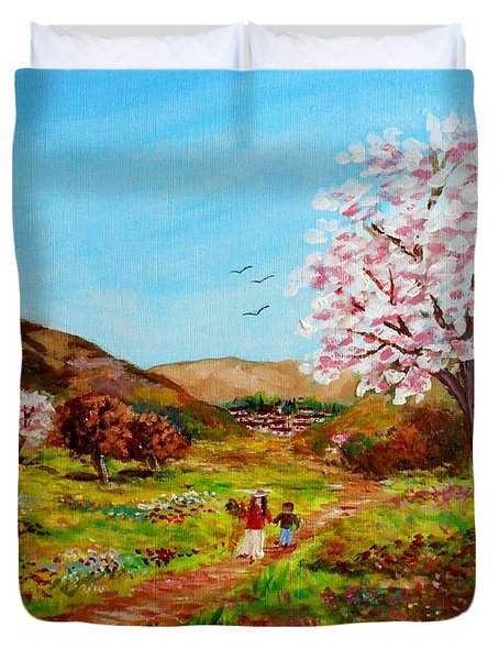Walking Into The Springfields Duvet Cover by Constantinos Charalampopoulos