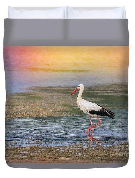 Duvet Cover featuring the photograph Walking by Jivko Nakev