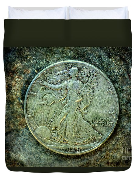 Duvet Cover featuring the digital art Walking Liberty Half Dollar Obverse by Randy Steele