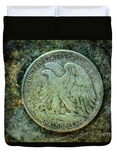 Duvet Cover featuring the digital art Walking Liberty Half Dollar Reverse by Randy Steele