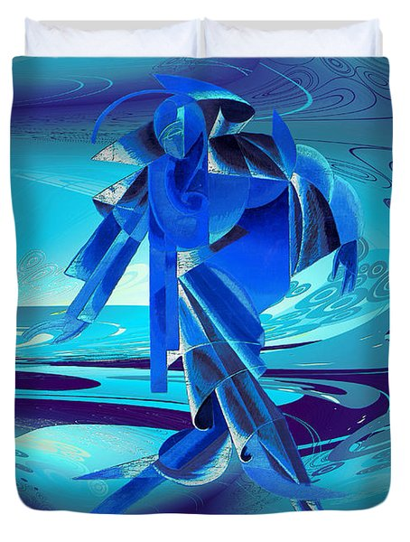 Walking On A Stormy Beach Duvet Cover