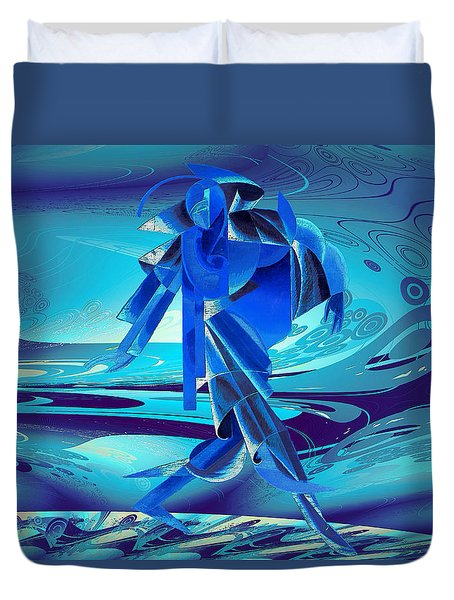 Duvet Cover featuring the digital art Walking On A Stormy Beach by Robert G Kernodle